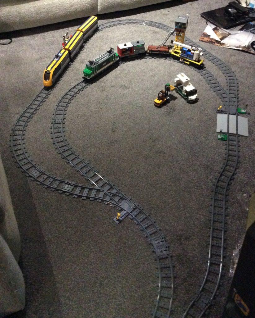 Cargo train and passenger train
